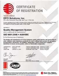 ISO 9001:2008 + AS9100C Certificate of Registration